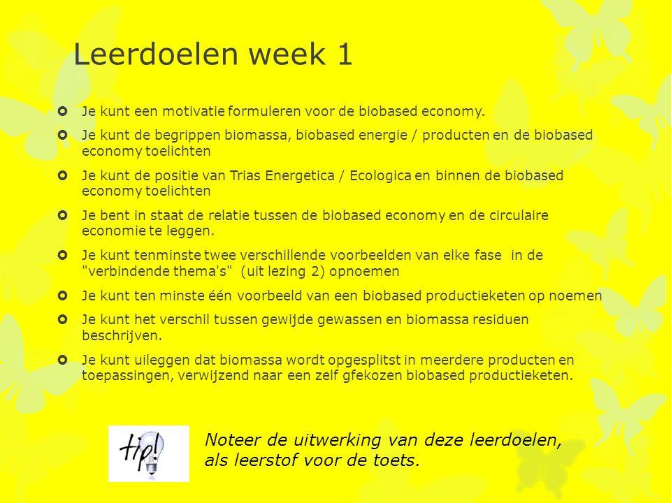 Leerdoelen week 1  Je kunt een motivatie formuleren voor de biobased economy.  Je kunt de begrippen biomassa, biobased energie / producten en de bio