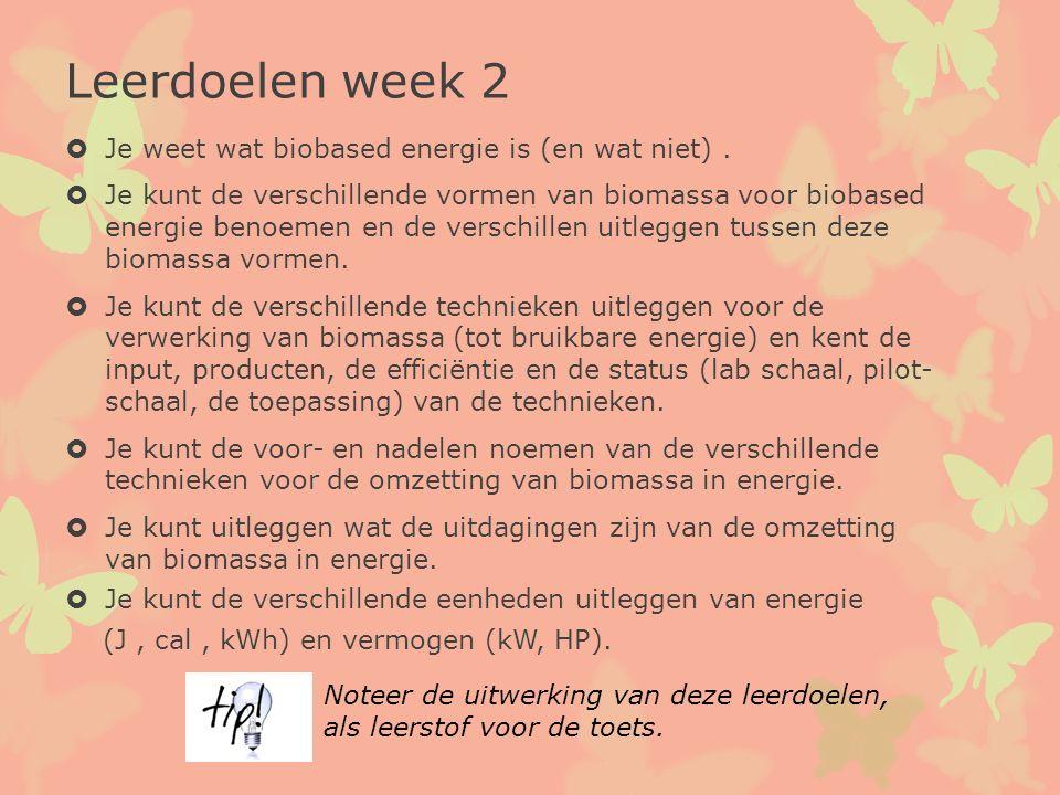 Leerdoelen week 2  Je weet wat biobased energie is (en wat niet).  Je kunt de verschillende vormen van biomassa voor biobased energie benoemen en de