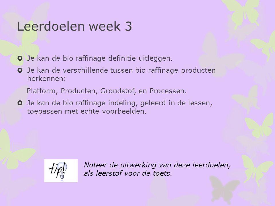Leerdoelen week 3  Je kan de bio raffinage definitie uitleggen.  Je kan de verschillende tussen bio raffinage producten herkennen: Platform, Product
