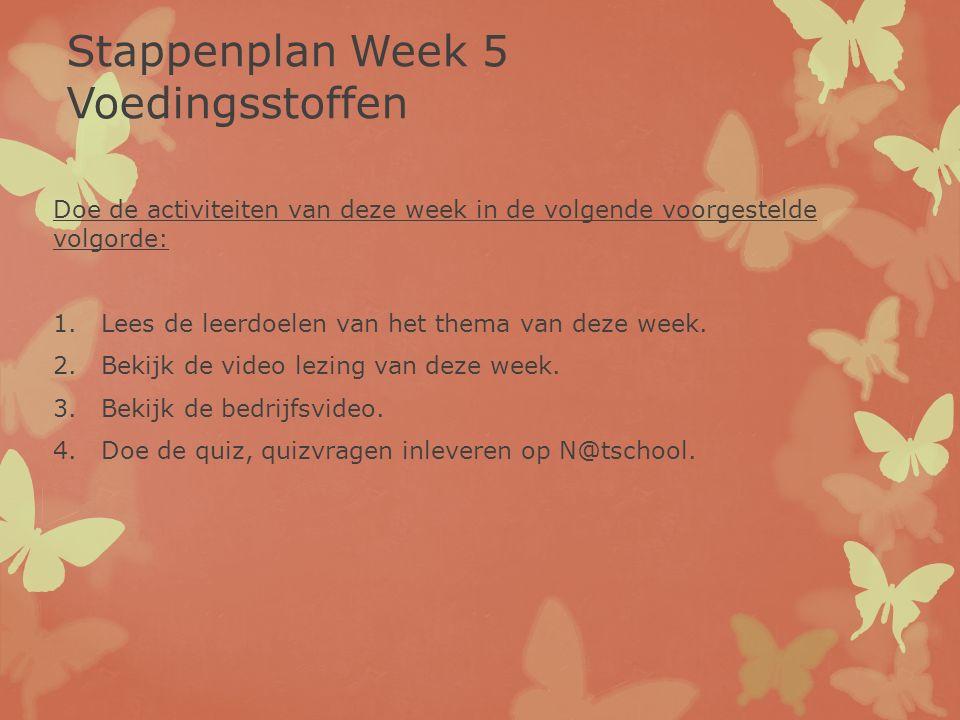 Doe de activiteiten van deze week in de volgende voorgestelde volgorde: 1.Lees de leerdoelen van het thema van deze week. 2.Bekijk de video lezing van