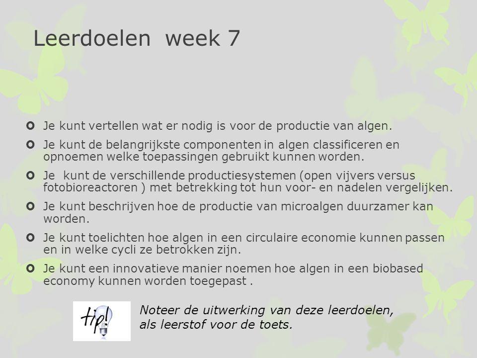 Leerdoelen week 7  Je kunt vertellen wat er nodig is voor de productie van algen.  Je kunt de belangrijkste componenten in algen classificeren en op