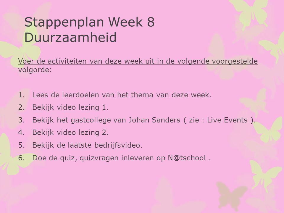 Voer de activiteiten van deze week uit in de volgende voorgestelde volgorde: 1.Lees de leerdoelen van het thema van deze week. 2.Bekijk video lezing 1