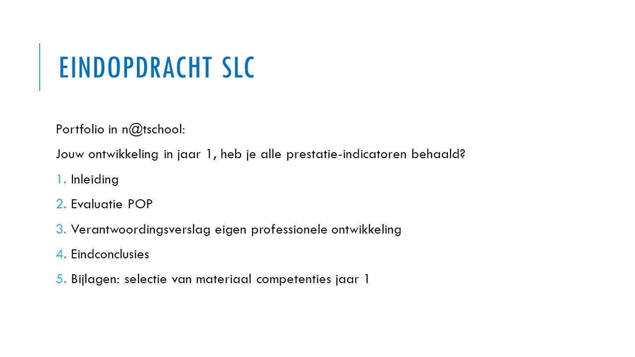 EINDOPDRACHT SLC Portfolio in n@tschool: Jouw ontwikkeling in jaar 1, heb je alle prestatie-indicatoren behaald? 1. Inleiding 2. Evaluatie POP 3. Vera