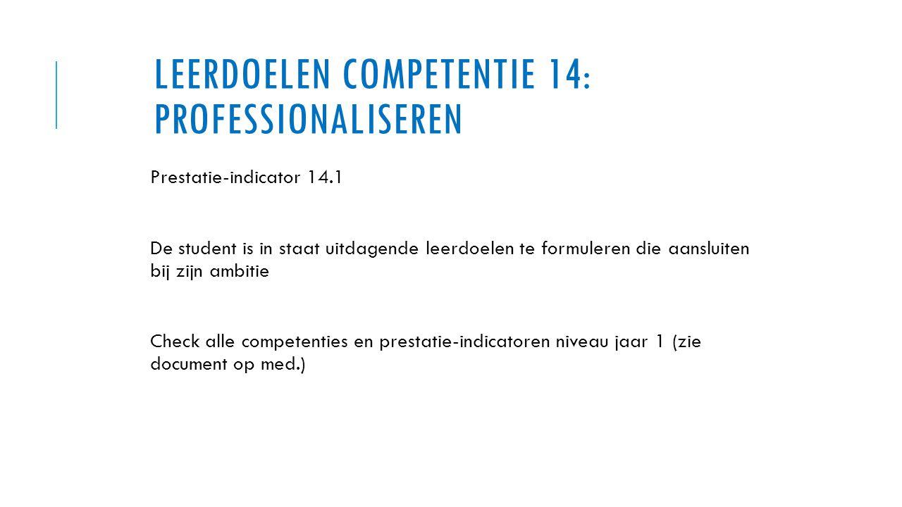 LEERDOELEN COMPETENTIE 14: PROFESSIONALISEREN Prestatie-indicator 14.1 De student is in staat uitdagende leerdoelen te formuleren die aansluiten bij z