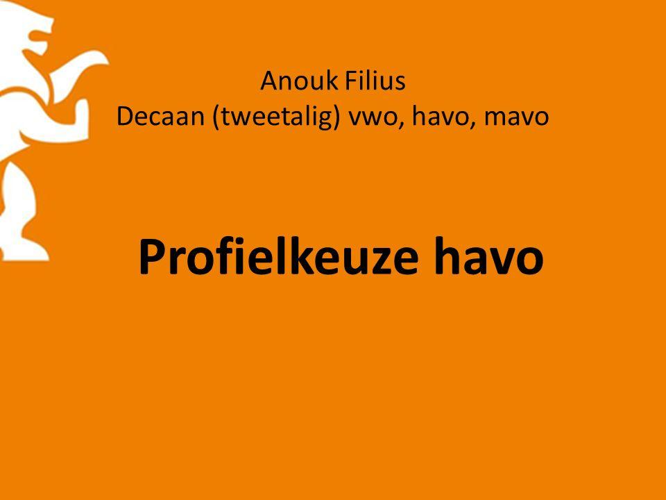 Anouk Filius Decaan (tweetalig) vwo, havo, mavo Profielkeuze havo