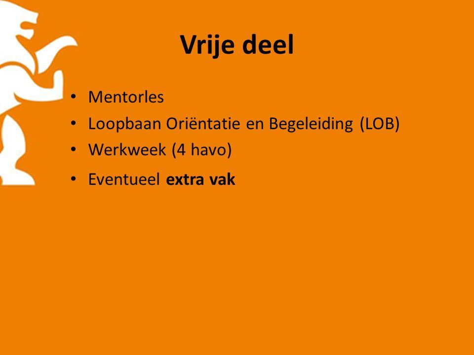 Vrije deel Mentorles Loopbaan Oriëntatie en Begeleiding (LOB) Werkweek (4 havo) Eventueel extra vak