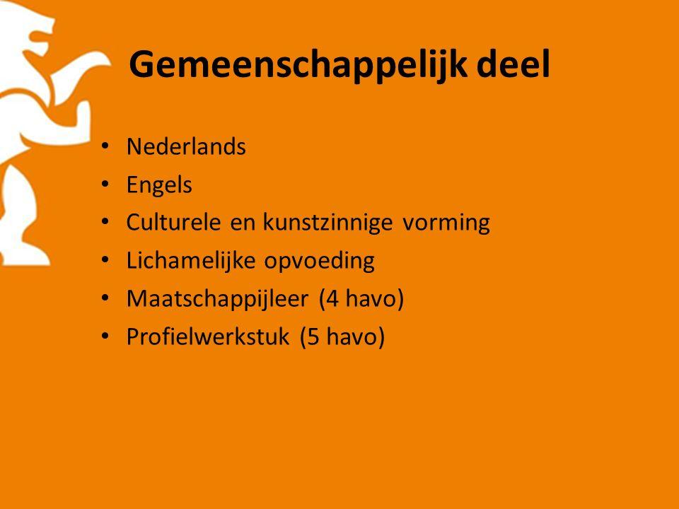 Gemeenschappelijk deel Nederlands Engels Culturele en kunstzinnige vorming Lichamelijke opvoeding Maatschappijleer (4 havo) Profielwerkstuk (5 havo)