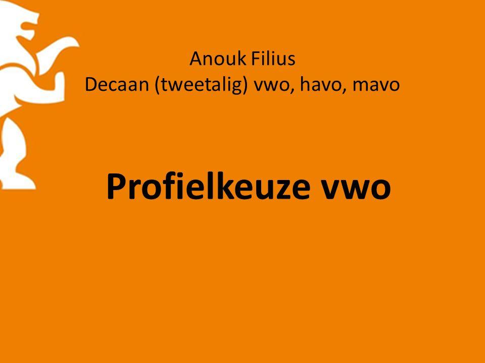 Anouk Filius Decaan (tweetalig) vwo, havo, mavo Profielkeuze vwo
