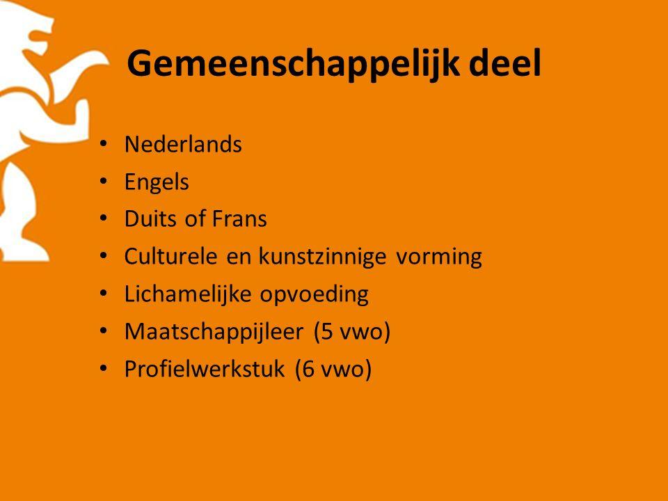 Gemeenschappelijk deel Nederlands Engels Duits of Frans Culturele en kunstzinnige vorming Lichamelijke opvoeding Maatschappijleer (5 vwo) Profielwerkstuk (6 vwo)