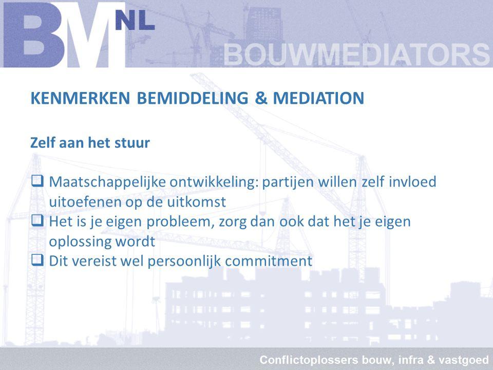KENMERKEN BEMIDDELING & MEDIATION Lagere kosten  Doorlooptijd: 25% - 50% t.o.v. reguliere procedure  Advocaat: niet nodig c.q. effectievere inzet 