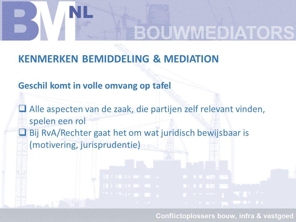 KENMERKEN BEMIDDELING & MEDIATION Meer zekerheid over de uitkomst  Bouwmediation leidt in 90% van de gevallen tot een oplossing  Bij RvA krijgt slec
