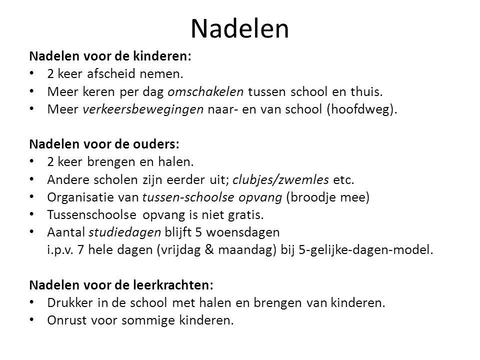 Nadelen Nadelen voor de kinderen: 2 keer afscheid nemen. Meer keren per dag omschakelen tussen school en thuis. Meer verkeersbewegingen naar- en van s