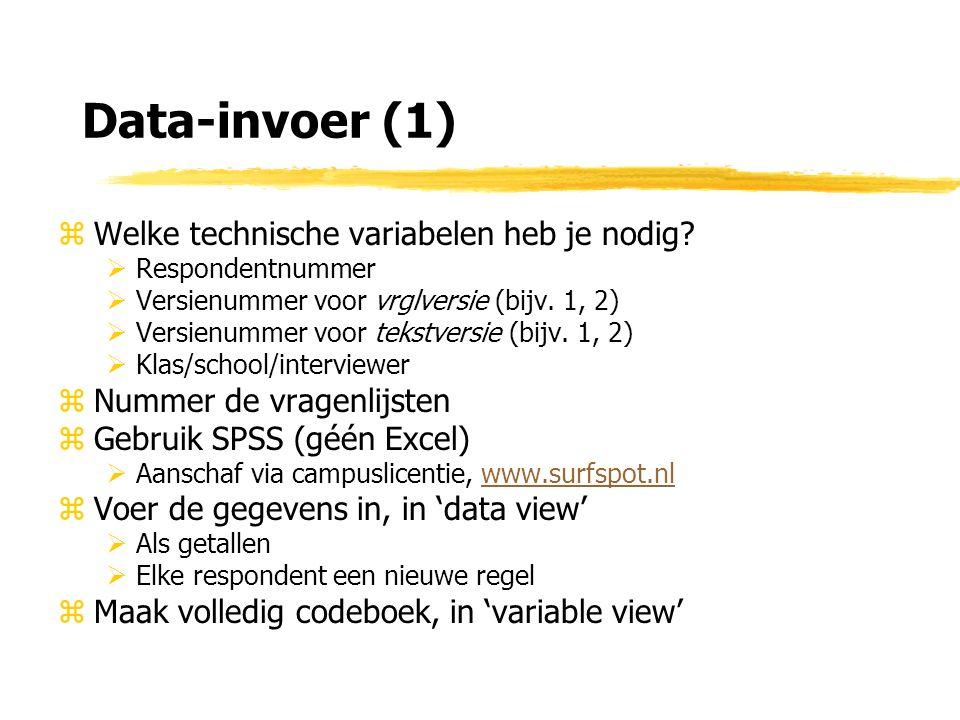 Data-invoer (1) zWelke technische variabelen heb je nodig.
