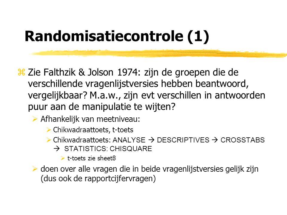Randomisatiecontrole (1) zZie Falthzik & Jolson 1974: zijn de groepen die de verschillende vragenlijstversies hebben beantwoord, vergelijkbaar.