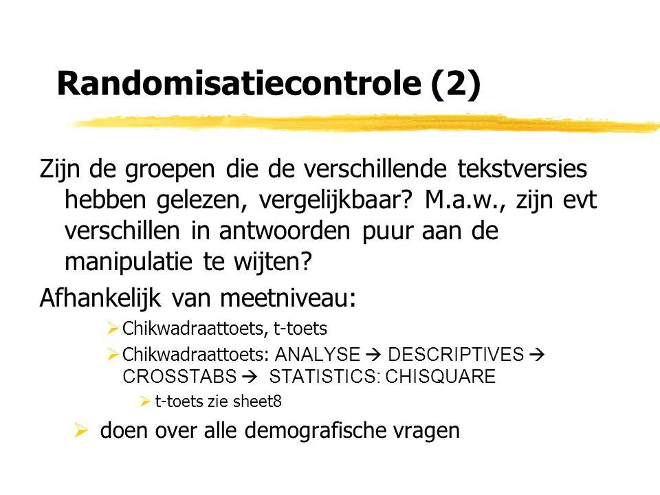 Randomisatiecontrole (2) Zijn de groepen die de verschillende tekstversies hebben gelezen, vergelijkbaar.