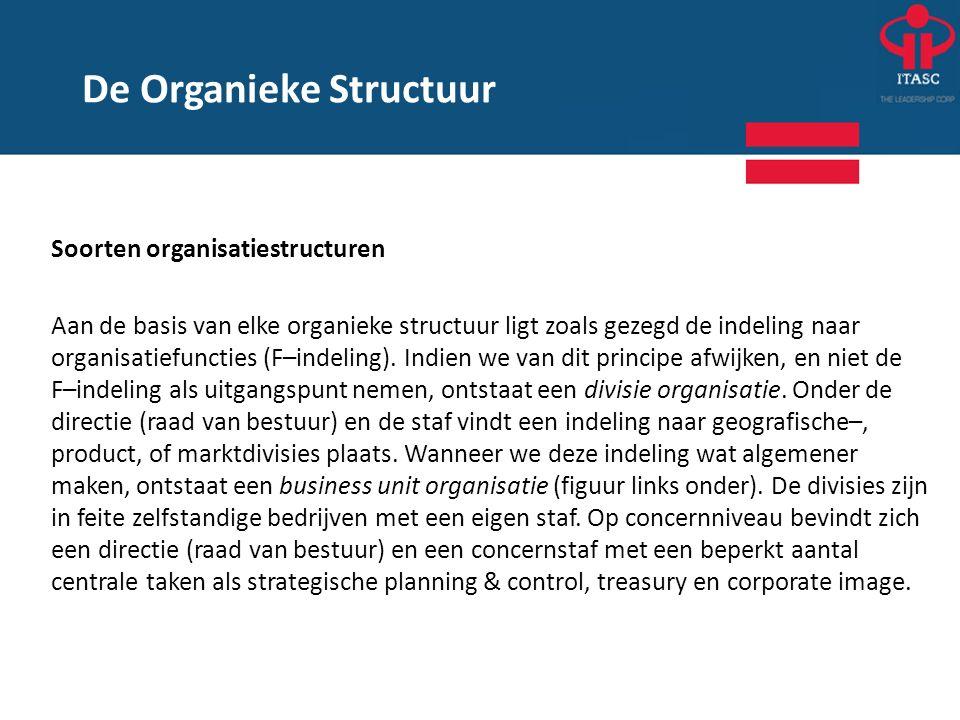 Soorten organisatiestructuren Aan de basis van elke organieke structuur ligt zoals gezegd de indeling naar organisatiefuncties (F–indeling). Indien we