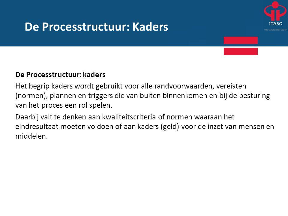De Processtructuur: kaders Het begrip kaders wordt gebruikt voor alle randvoorwaarden, vereisten (normen), plannen en triggers die van buiten binnenko