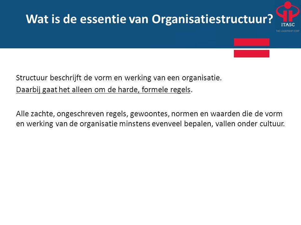 Structuur beschrijft de vorm en werking van een organisatie. Daarbij gaat het alleen om de harde, formele regels. Alle zachte, ongeschreven regels, ge