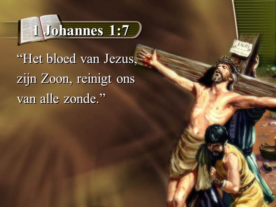 1 Johannes 1:7 Het bloed van Jezus, zijn Zoon, reinigt ons van alle zonde. Het bloed van Jezus, zijn Zoon, reinigt ons van alle zonde.