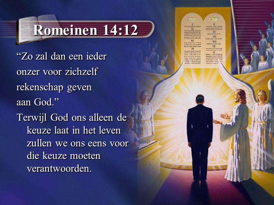 Romeinen 14:12 Zo zal dan een ieder onzer voor zichzelf rekenschap geven aan God. Terwijl God ons alleen de keuze laat in het leven zullen we ons eens voor die keuze moeten verantwoorden.