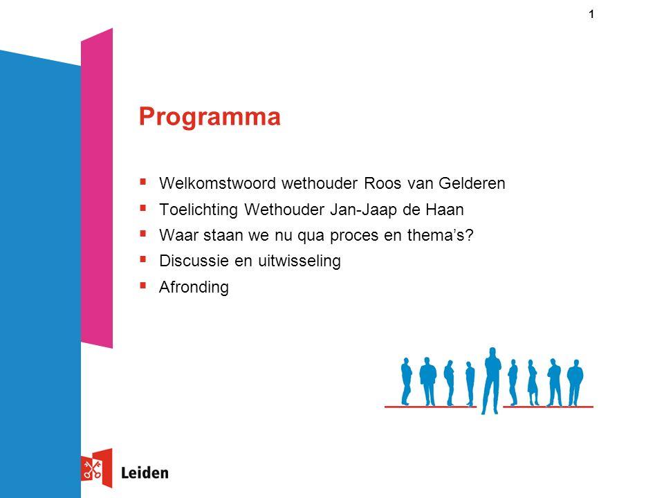 1 Programma  Welkomstwoord wethouder Roos van Gelderen  Toelichting Wethouder Jan-Jaap de Haan  Waar staan we nu qua proces en thema's?  Discussie