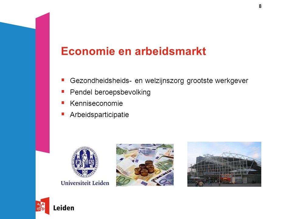 8 Economie en arbeidsmarkt  Gezondheidsheids- en welzijnszorg grootste werkgever  Pendel beroepsbevolking  Kenniseconomie  Arbeidsparticipatie