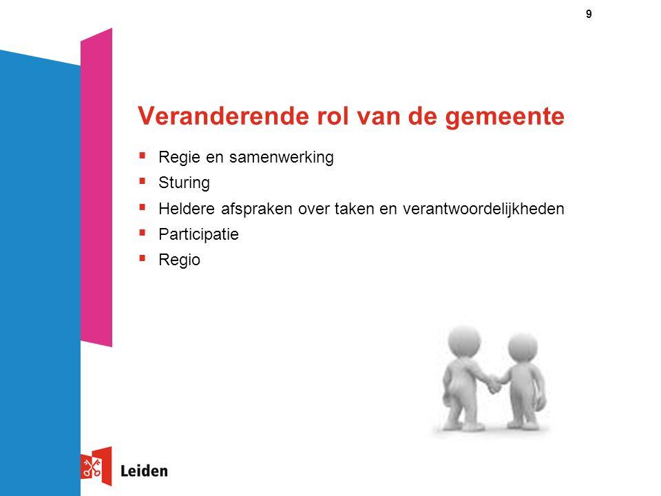 9 Veranderende rol van de gemeente  Regie en samenwerking  Sturing  Heldere afspraken over taken en verantwoordelijkheden  Participatie  Regio