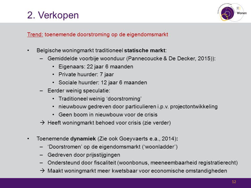 2. Verkopen Trend: toenemende doorstroming op de eigendomsmarkt Belgische woningmarkt traditioneel statische markt: –Gemiddelde voorbije woonduur (Pan