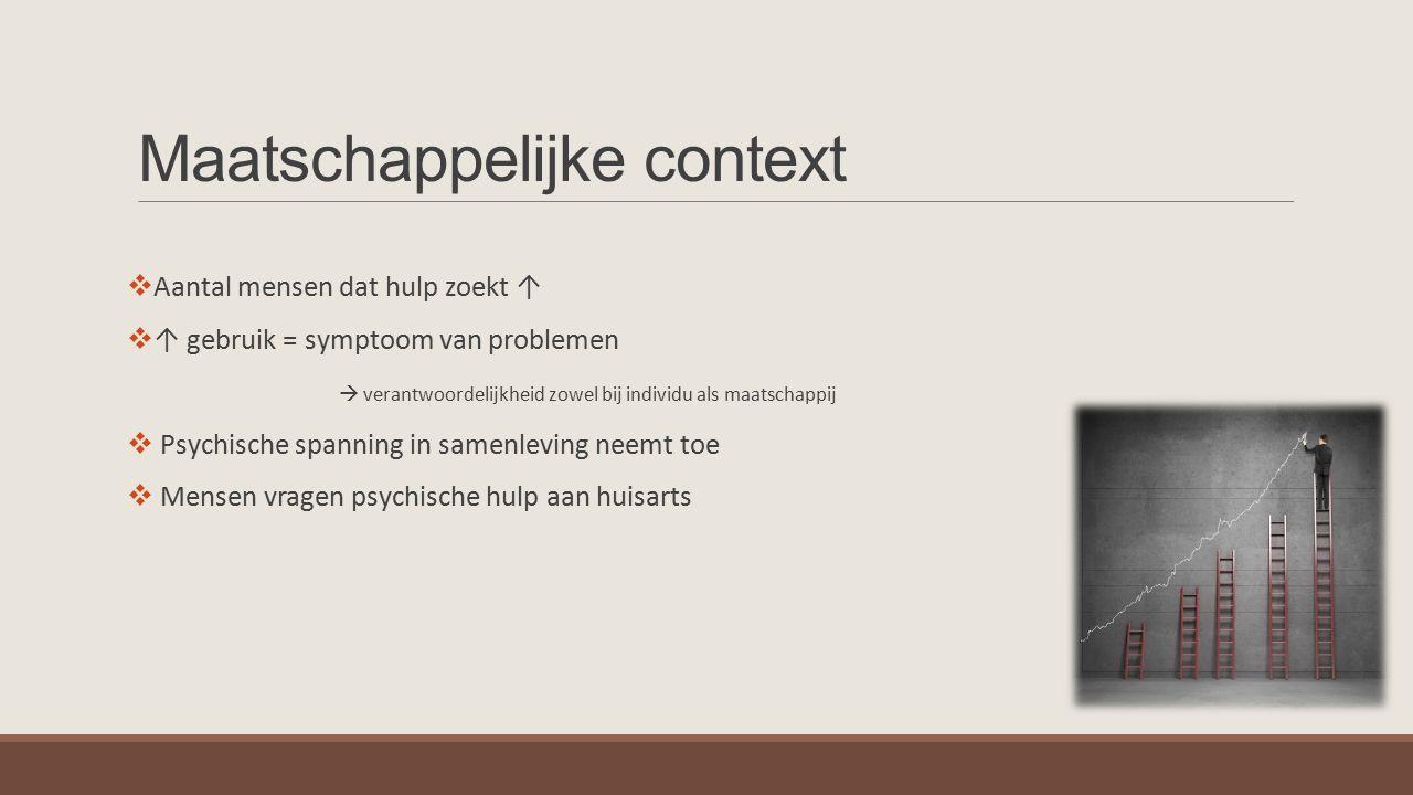 Maatschappelijke context  Aantal mensen dat hulp zoekt ↑  ↑ gebruik = symptoom van problemen  verantwoordelijkheid zowel bij individu als maatschap