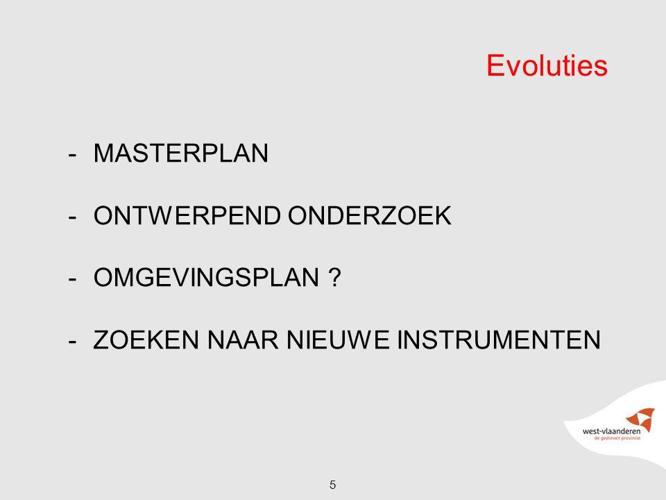-MASTERPLAN -ONTWERPEND ONDERZOEK -OMGEVINGSPLAN ? -ZOEKEN NAAR NIEUWE INSTRUMENTEN 5 Evoluties