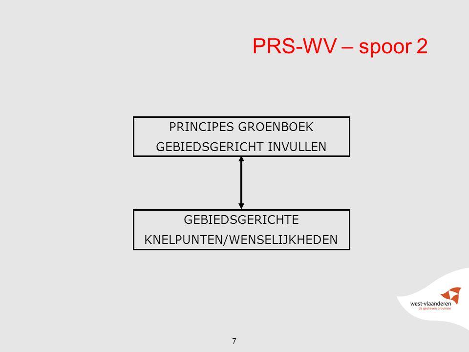 7 PRS-WV – spoor 2 PRINCIPES GROENBOEK GEBIEDSGERICHT INVULLEN GEBIEDSGERICHTE KNELPUNTEN/WENSELIJKHEDEN