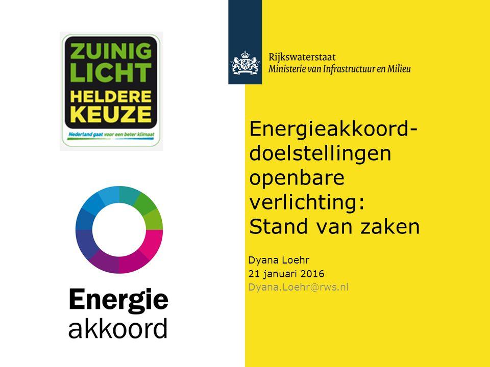 Energieakkoord- doelstellingen openbare verlichting: Stand van zaken Dyana Loehr 21 januari 2016 Dyana.Loehr@rws.nl