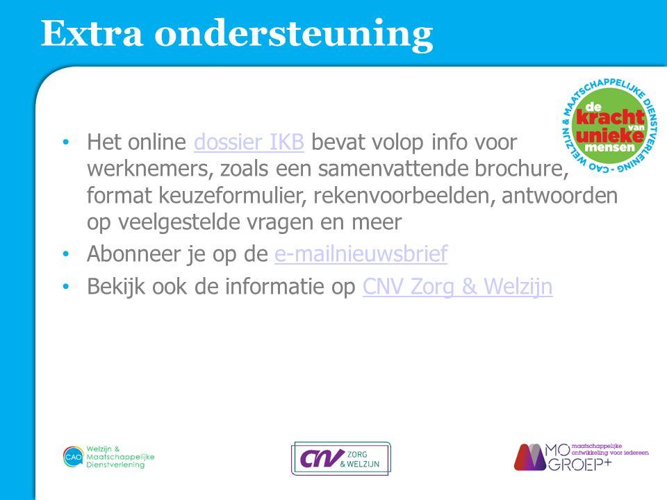 Het online dossier IKB bevat volop info voor werknemers, zoals een samenvattende brochure, format keuzeformulier, rekenvoorbeelden, antwoorden op veel