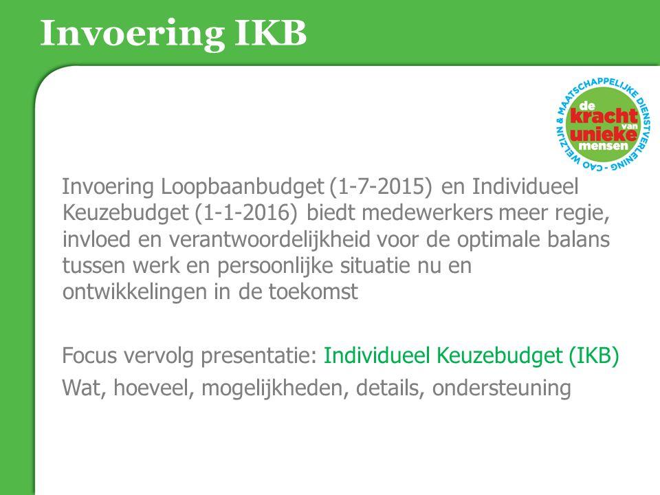 Invoering IKB Invoering Loopbaanbudget (1-7-2015) en Individueel Keuzebudget (1-1-2016) biedt medewerkers meer regie, invloed en verantwoordelijkheid