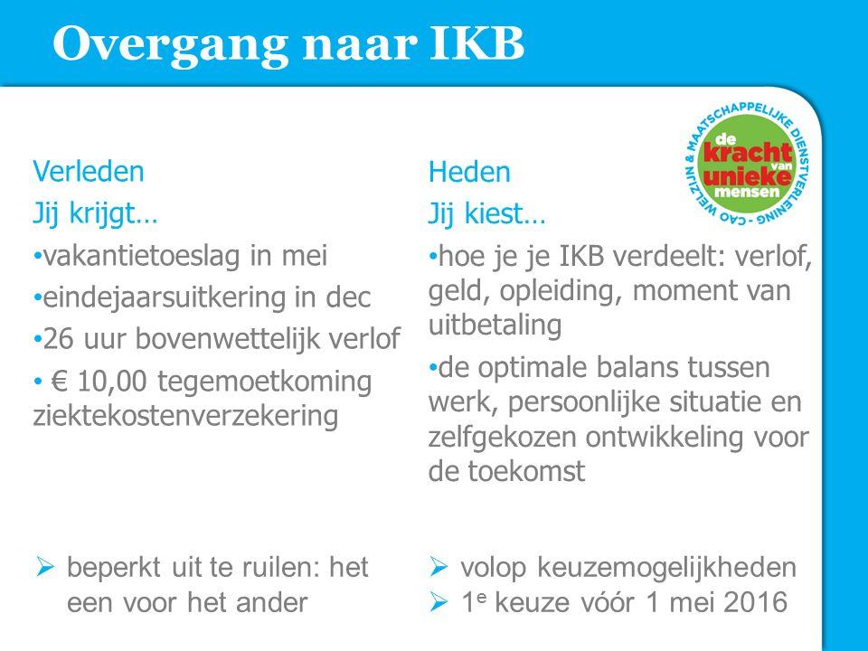 Overgang naar IKB Verleden Jij krijgt… vakantietoeslag in mei eindejaarsuitkering in dec 26 uur bovenwettelijk verlof € 10,00 tegemoetkoming ziektekos
