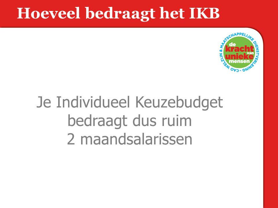 Je Individueel Keuzebudget bedraagt dus ruim 2 maandsalarissen Hoeveel bedraagt het IKB