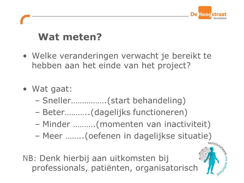 Wat meten? Welke veranderingen verwacht je bereikt te hebben aan het einde van het project? Wat gaat: –Sneller…………….(start behandeling) –Beter………..(da