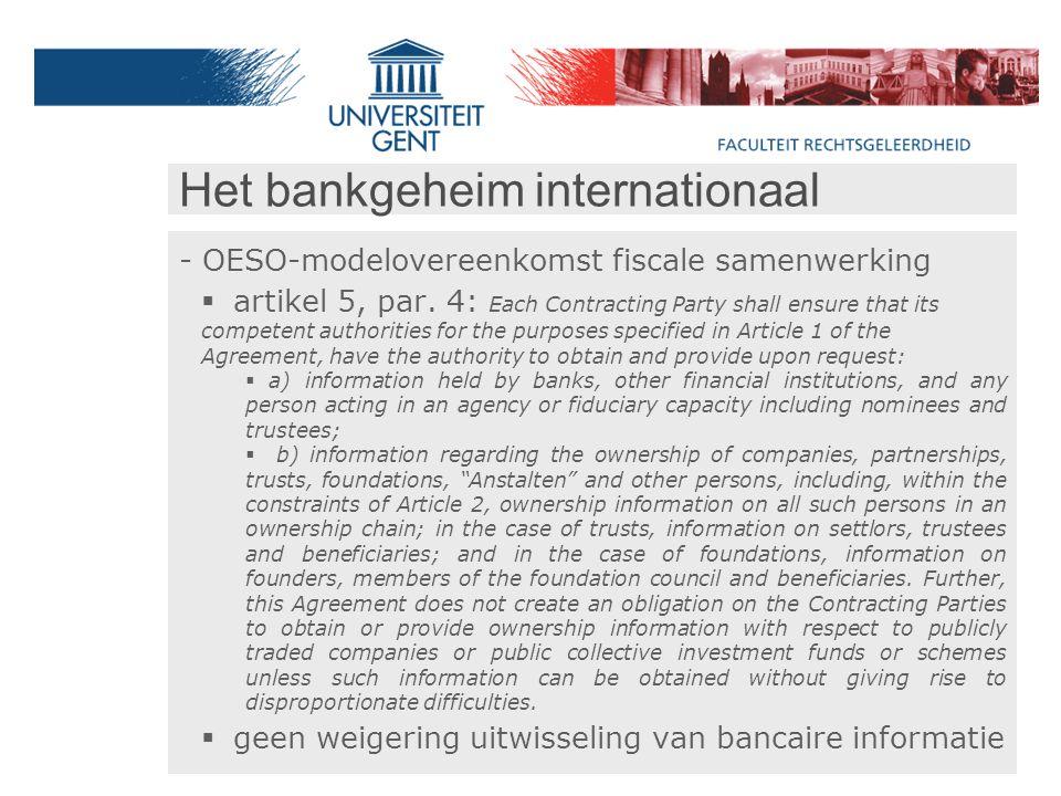 Het bankgeheim internationaal - OESO-modelovereenkomst fiscale samenwerking  artikel 5, par.