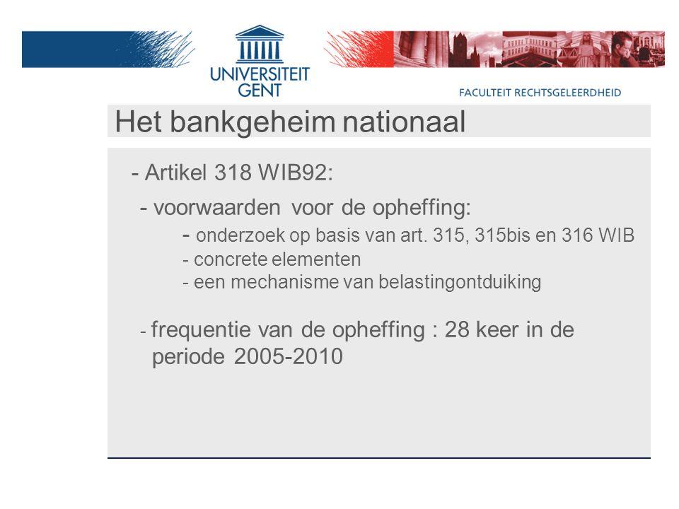 Het bankgeheim nationaal - Artikel 318 WIB92: - voorwaarden voor de opheffing: - onderzoek op basis van art.