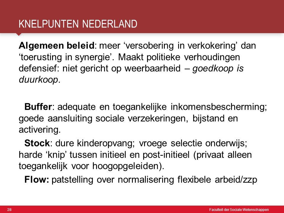 28 Faculteit der Sociale Wetenschappen KNELPUNTEN NEDERLAND Algemeen beleid: meer 'versobering in verkokering' dan 'toerusting in synergie'.