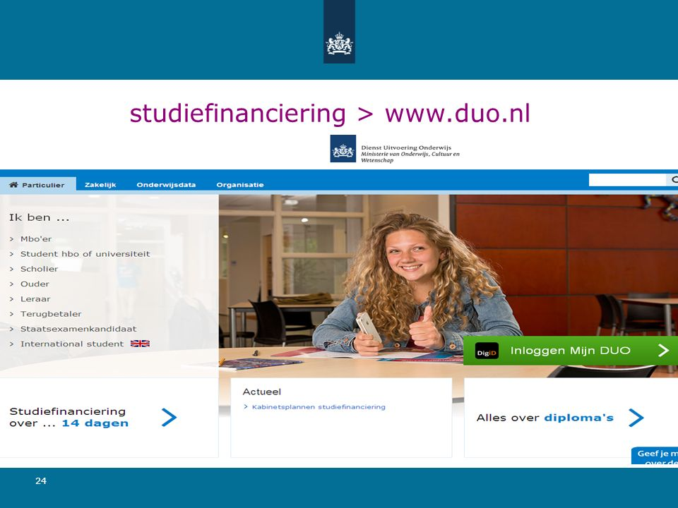 24 studiefinanciering > www.duo.nl