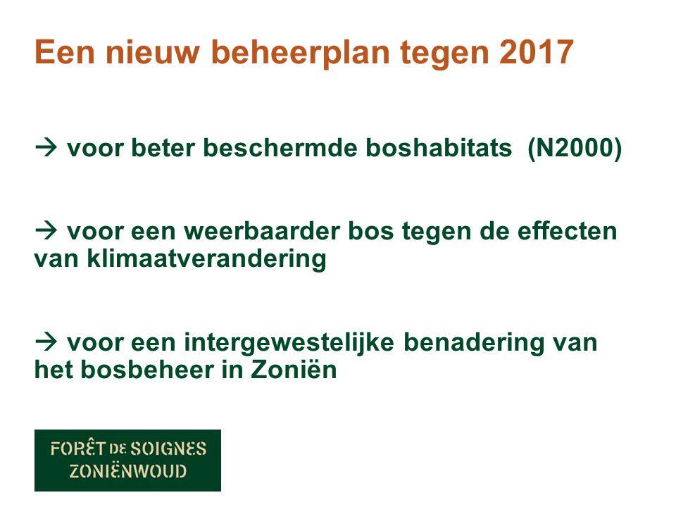 Een nieuw beheerplan tegen 2017  voor beter beschermde boshabitats (N2000)  voor een weerbaarder bos tegen de effecten van klimaatverandering  voor een intergewestelijke benadering van het bosbeheer in Zoniën
