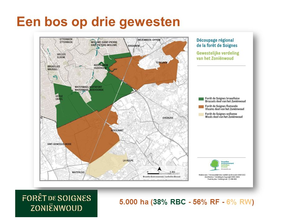 Een bos op drie gewesten 5.000 ha (38% RBC - 56% RF - 6% RW)