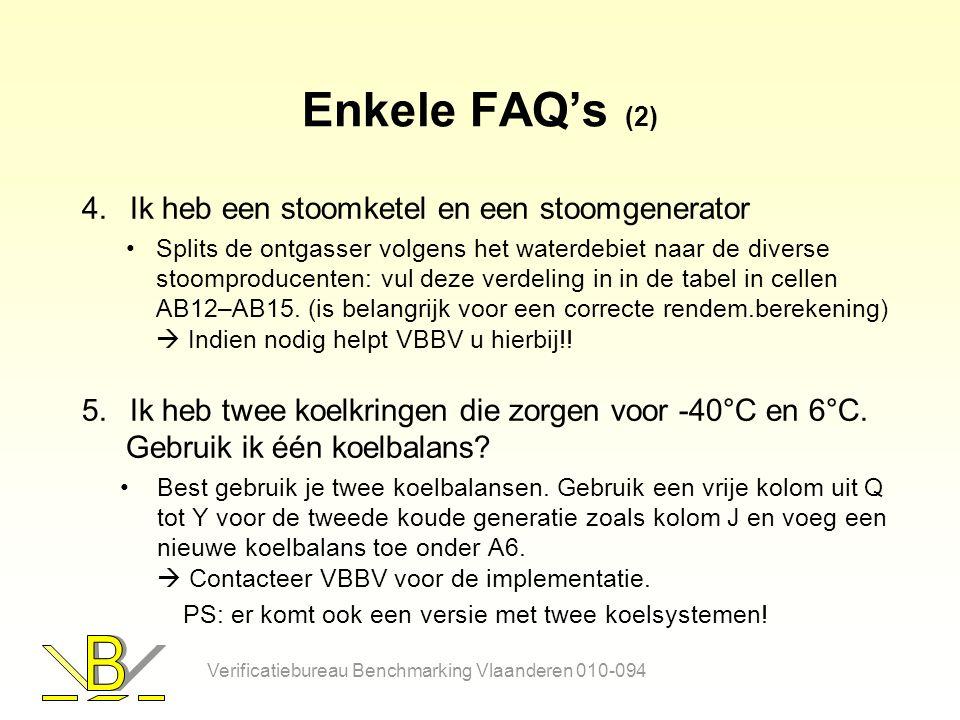 Enkele FAQ's (2) 4.Ik heb een stoomketel en een stoomgenerator Splits de ontgasser volgens het waterdebiet naar de diverse stoomproducenten: vul deze verdeling in in de tabel in cellen AB12–AB15.