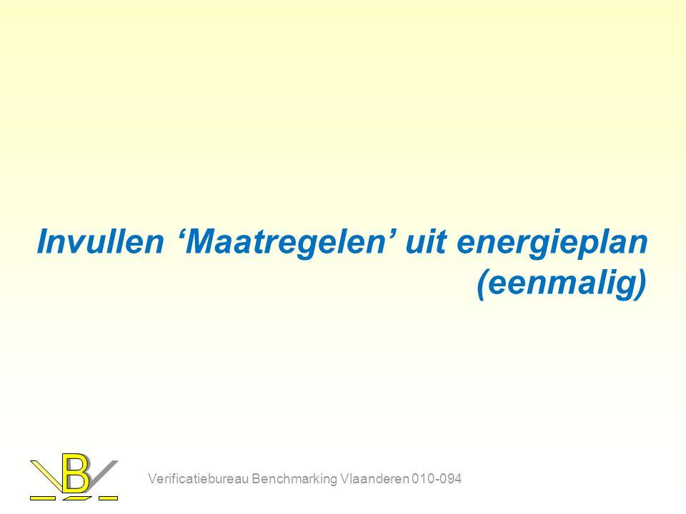 Invullen 'Maatregelen' uit energieplan (eenmalig) Verificatiebureau Benchmarking Vlaanderen 010-094