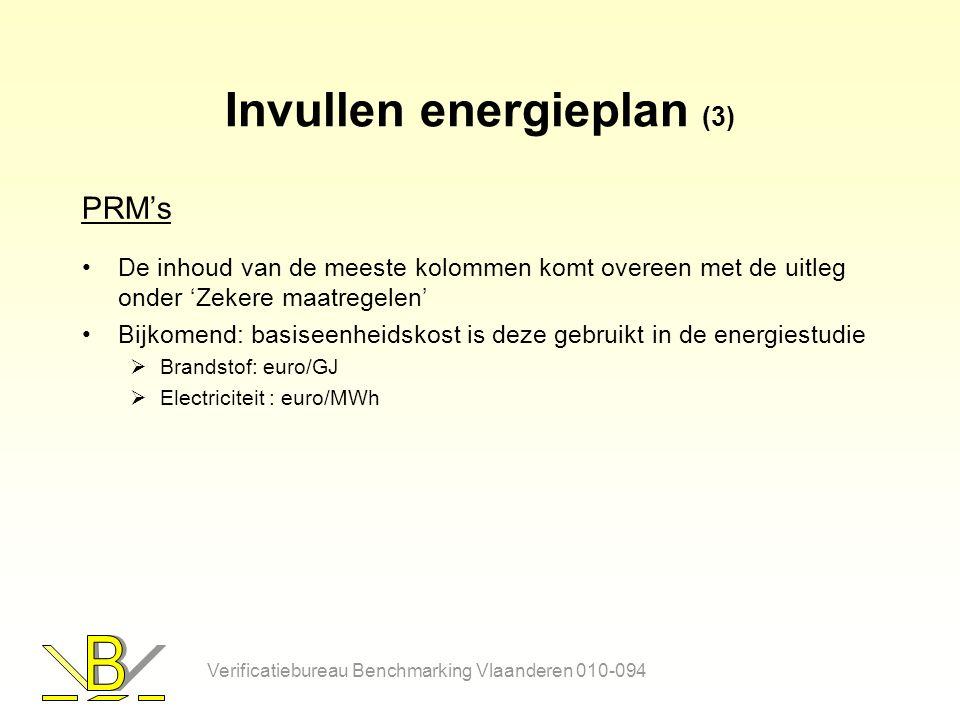 Invullen energieplan (3) PRM's De inhoud van de meeste kolommen komt overeen met de uitleg onder 'Zekere maatregelen' Bijkomend: basiseenheidskost is deze gebruikt in de energiestudie  Brandstof: euro/GJ  Electriciteit : euro/MWh Verificatiebureau Benchmarking Vlaanderen 010-094