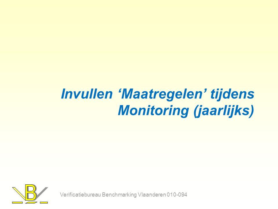 Invullen 'Maatregelen' tijdens Monitoring (jaarlijks) Verificatiebureau Benchmarking Vlaanderen 010-094