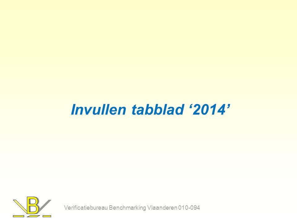 Invullen tabblad '2014' Verificatiebureau Benchmarking Vlaanderen 010-094