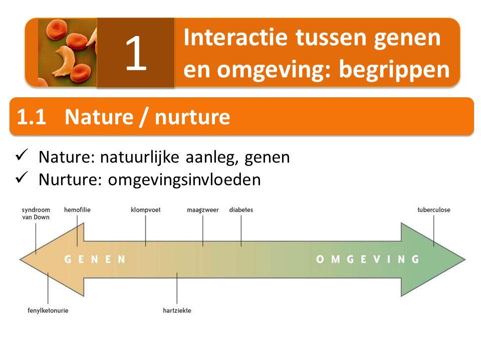 1.2Genetica / epigenetica Genetica  erfelijke informatie in de DNA-basenvolgorde Epigenetica  erfelijke aanpassingen in de genexpressie genen 'aan en uit' zetten door veranderingen op het DNA of chromatine 1.3Modificatie / mutatie Modificatie  verandering in fenotype door omgevingsinvloeden Niet erfelijke modificatie Epigenetische modificatie  kan erfelijk zijn Mutatie  verandering in genotype door wijziging in DNA