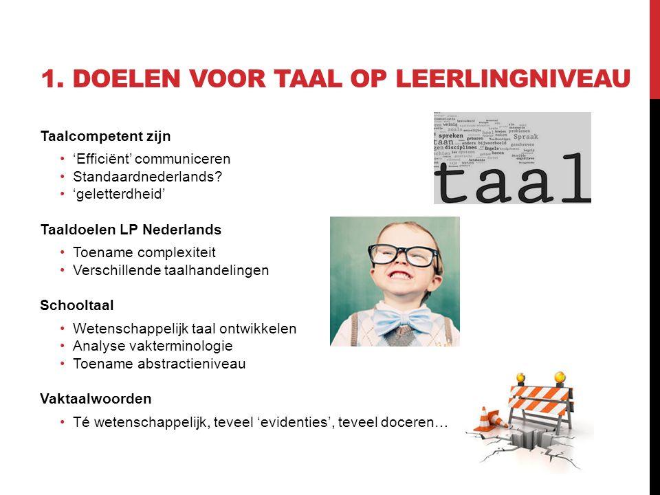 1. DOELEN VOOR TAAL OP LEERLINGNIVEAU Taalcompetent zijn 'Efficiënt' communiceren Standaardnederlands? 'geletterdheid' Taaldoelen LP Nederlands Toenam